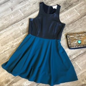 Jaye.e Black Faux Leather and Teal Skater Dress